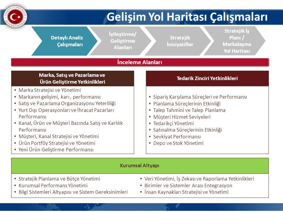 Gelişim Yol Haritası Çalışmaları İyileştirme/ Geliştirme Alanları Detaylı Analiz Çalışmaları Stratejik İş Planı / Markalaşma Yol Haritası Stratejik İn