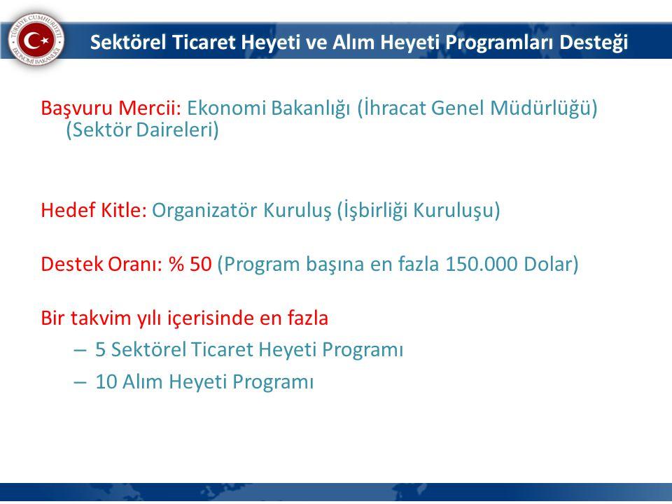 Başvuru Mercii: Ekonomi Bakanlığı (İhracat Genel Müdürlüğü) (Sektör Daireleri) Hedef Kitle: Organizatör Kuruluş (İşbirliği Kuruluşu) Destek Oranı: % 5