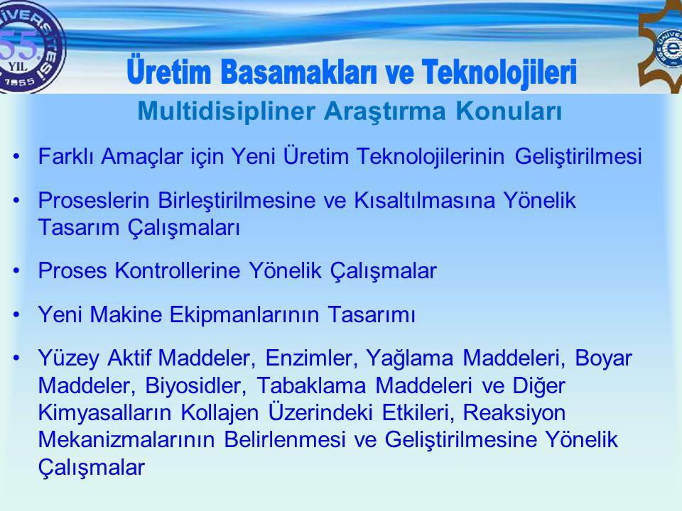 •Farklı Amaçlar için Yeni Üretim Teknolojilerinin Geliştirilmesi •Proseslerin Birleştirilmesine ve Kısaltılmasına Yönelik Tasarım Çalışmaları •Proses