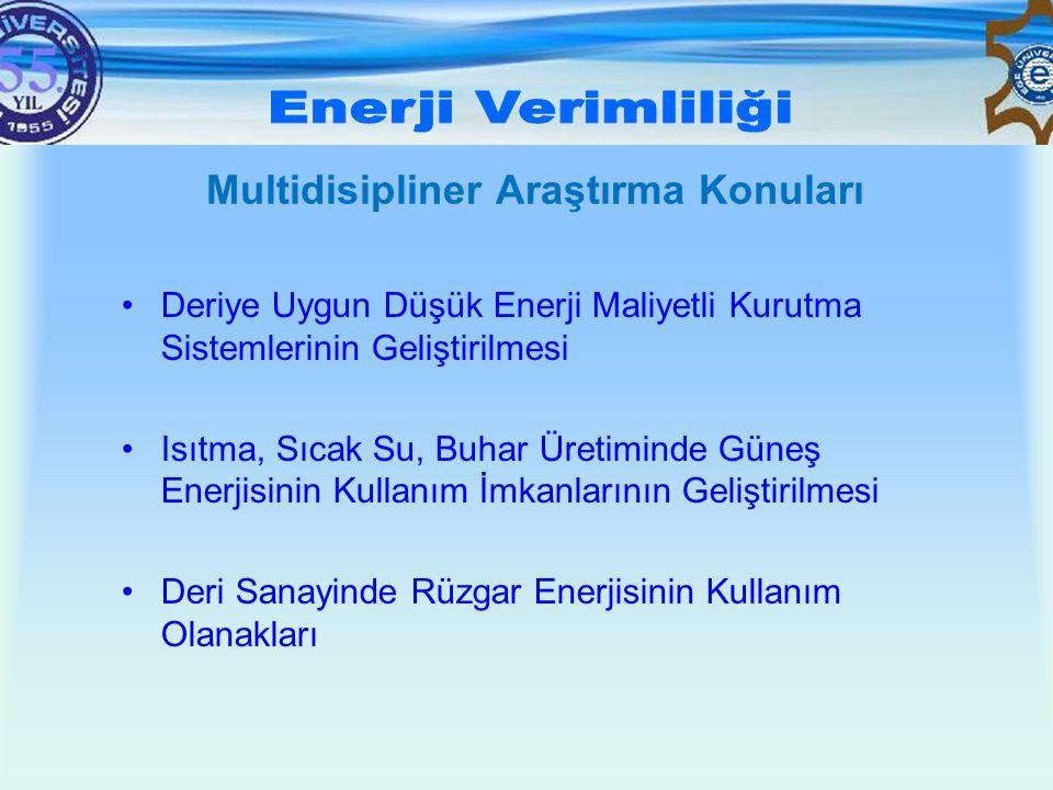 Multidisipliner Araştırma Konuları •Deriye Uygun Düşük Enerji Maliyetli Kurutma Sistemlerinin Geliştirilmesi •Isıtma, Sıcak Su, Buhar Üretiminde Güneş