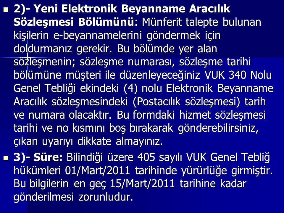  2)- Yeni Elektronik Beyanname Aracılık Sözleşmesi Bölümünü: Münferit talepte bulunan kişilerin e-beyannamelerini göndermek için doldurmanız gerekir.
