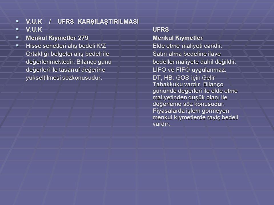  V.U.K / UFRS KARŞILAŞTIRILMASI  V.U.KUFRS  Menkul Kıymetler 279Menkul Kıymetler  Hisse senetleri alış bedeli K/ZElde etme maliyeti caridir.