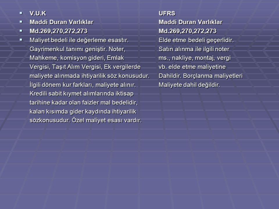  V.U.KUFRS  Maddi Duran Varlıklar Maddi Duran Varlıklar  Md.269,270,272,273Md.269,270,272,273  Maliyet bedeli ile değerleme esastır.Elde etme bedeli geçerlidir.