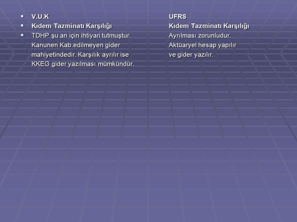  V.U.KUFRS  Kıdem Tazminatı KarşılığıKıdem Tazminatı Karşılığı  TDHP şu an için ihtiyari tutmuştur.