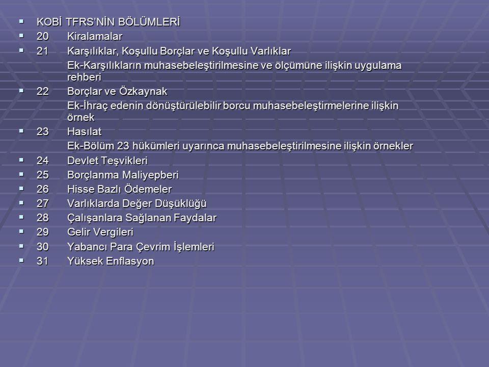  KOBİ TFRS'NİN BÖLÜMLERİ  20Kiralamalar  21Karşılıklar, Koşullu Borçlar ve Koşullu Varlıklar Ek-Karşılıkların muhasebeleştirilmesine ve ölçümüne ilişkin uygulama rehberi  22Borçlar ve Özkaynak Ek-İhraç edenin dönüştürülebilir borcu muhasebeleştirmelerine ilişkin örnek  23Hasılat Ek-Bölüm 23 hükümleri uyarınca muhasebeleştirilmesine ilişkin örnekler  24Devlet Teşvikleri  25Borçlanma Maliyepberi  26Hisse Bazlı Ödemeler  27Varlıklarda Değer Düşüklüğü  28Çalışanlara Sağlanan Faydalar  29Gelir Vergileri  30Yabancı Para Çevrim İşlemleri  31Yüksek Enflasyon