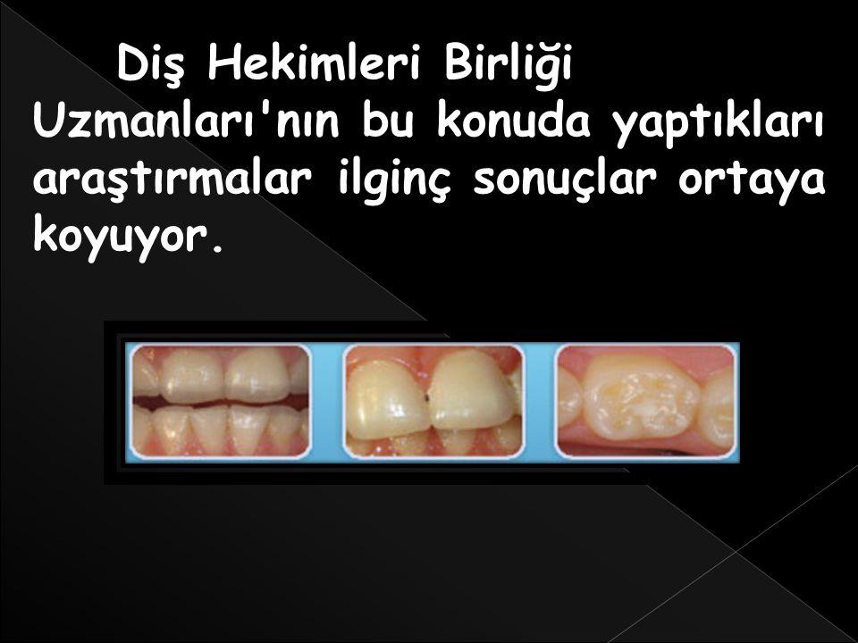Diş Hekimleri Birliği Uzmanları'nın bu konuda yaptıkları araştırmalar ilginç sonuçlar ortaya koyuyor.
