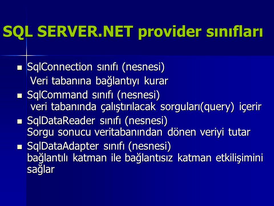 SQL SERVER.NET provider sınıfları  SqlConnection sınıfı (nesnesi) Veri tabanına bağlantıyı kurar Veri tabanına bağlantıyı kurar  SqlCommand sınıfı (