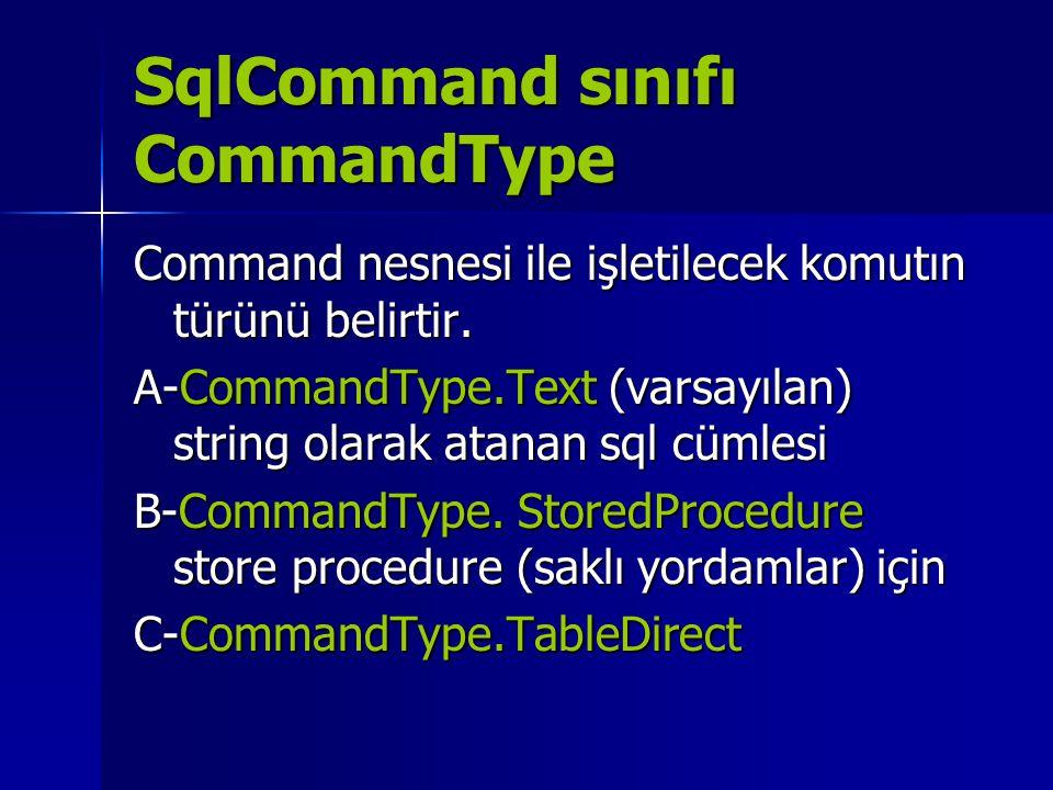 SqlCommand sınıfı CommandType Command nesnesi ile işletilecek komutın türünü belirtir. A-CommandType.Text (varsayılan) string olarak atanan sql cümles