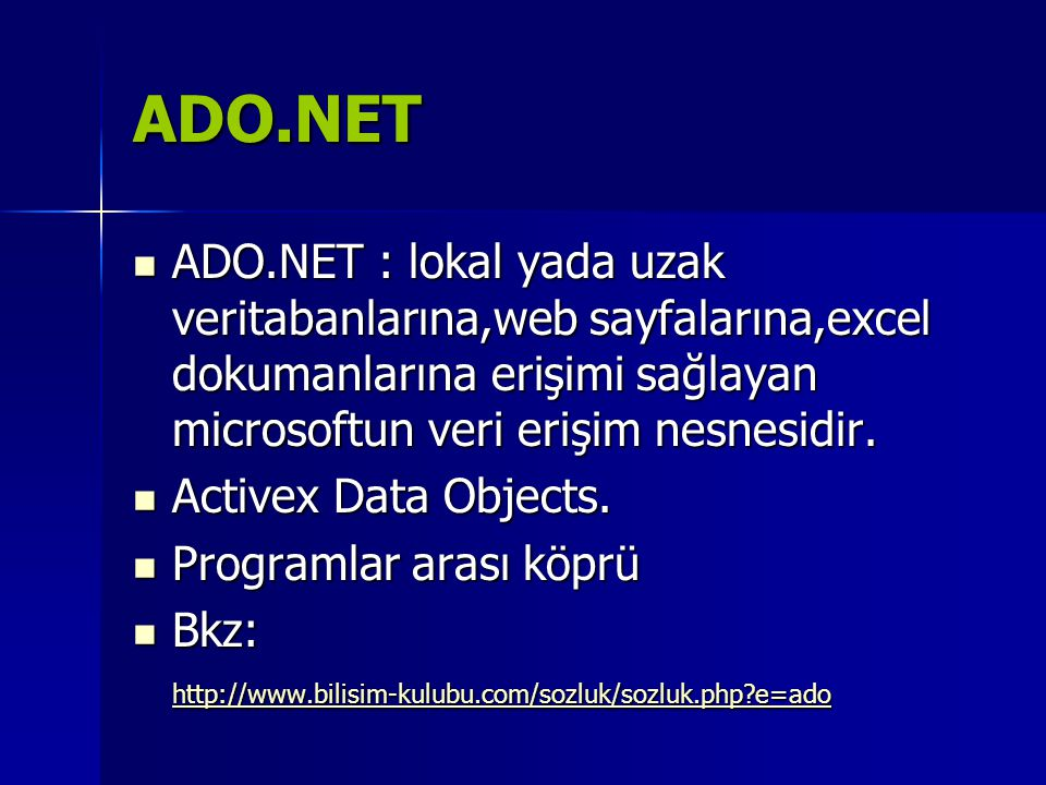 VB.NET Connection(bağlantı) 1-connectionString vererek sqlconnection tanımlama Dim baglan As New SqlConnection( user id=xx;Password=xx;database=kutuphane;serve r=localhost ) Dim baglan As New SqlConnection( user id=xx;Password=xx;database=kutuphane;serve r=localhost ) 2-Sonradan connectionString özelliğini set ederek Dim baglan2 As New SqlConnection() baglan2.ConnectionString = user id=xx;Password=xx;database=kutuphane;serve r=localhost baglan2.ConnectionString = user id=xx;Password=xx;database=kutuphane;serve r=localhost