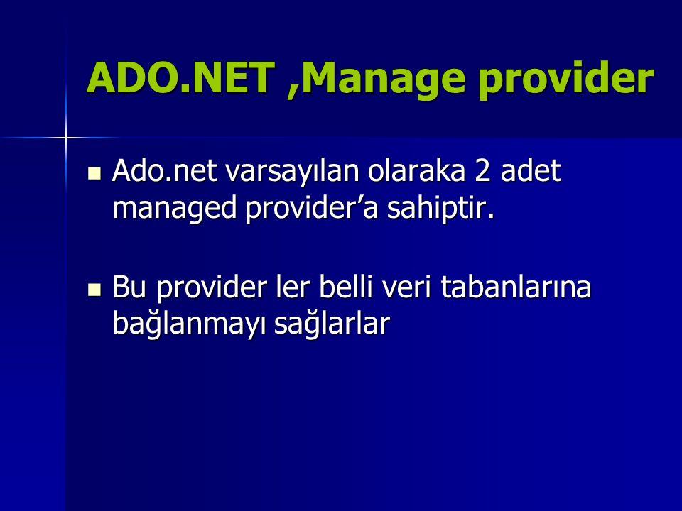ADO.NET,Manage provider  OleDB.Net data provider:OLE DB protokolünü destekleyen tüm veri tabanlarına erişim için kullanılır.(access,sql server,oracle)  SQL server.Net data provider:özellikle MS SQL SERVER veri tabanına erişim için hazırlanmı ve optimize edilmiştir.