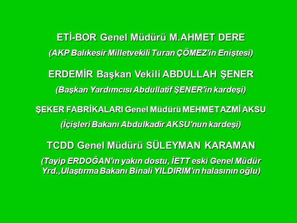 ETİ-BOR Genel Müdürü M.AHMET DERE (AKP Balıkesir Milletvekili Turan ÇÖMEZ in Eniştesi) ERDEMİR Başkan Vekili ABDULLAH ŞENER (Başkan Yardımcısı Abdullatif ŞENER in kardeşi) ŞEKER FABRİKALARI Genel Müdürü MEHMET AZMİ AKSU (İçişleri Bakanı Abdulkadir AKSU nun kardeşi) TCDD Genel Müdürü SÜLEYMAN KARAMAN (Tayip ERDOĞAN ın yakın dostu, İETT eski Genel Müdür Yrd.,Ulaştırma Bakanı Binali YILDIRIM ın halasının oğlu)