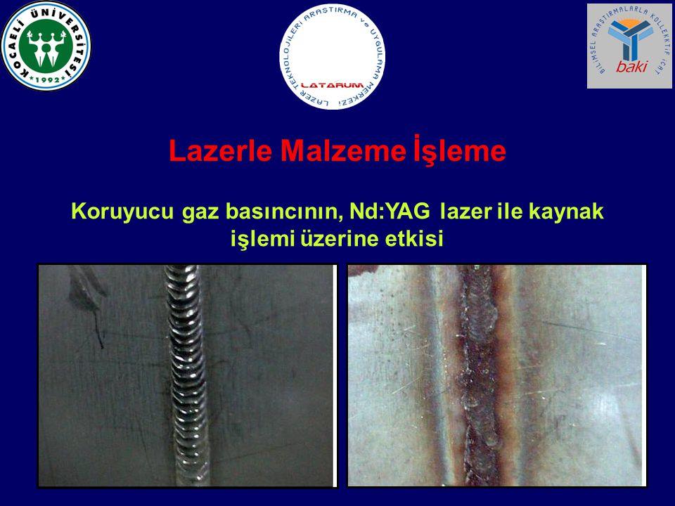 Koruyucu gaz basıncının, Nd:YAG lazer ile kaynak işlemi üzerine etkisi Lazerle Malzeme İşleme