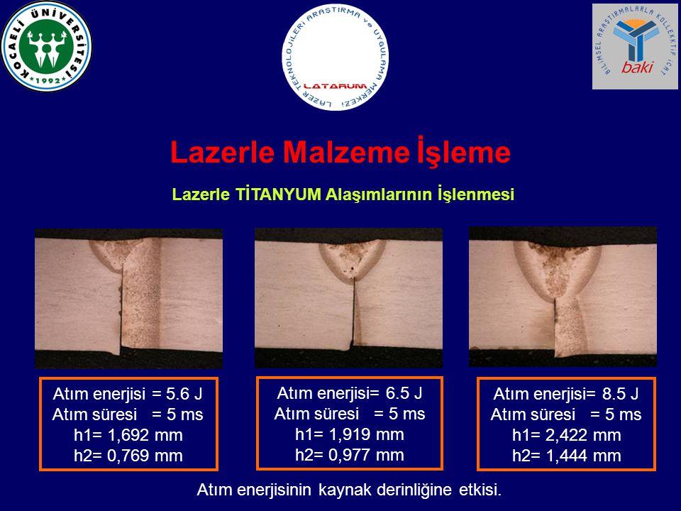Lazerle TİTANYUM Alaşımlarının İşlenmesi Atım enerjisi = 5.6 J Atım süresi = 5 ms h1= 1,692 mm h2= 0,769 mm Atım enerjisi= 6.5 J Atım süresi = 5 ms h1