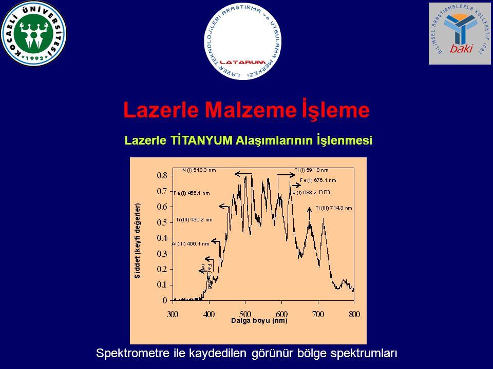 Lazerle Malzeme İşleme Lazerle TİTANYUM Alaşımlarının İşlenmesi Spektrometre ile kaydedilen görünür bölge spektrumları
