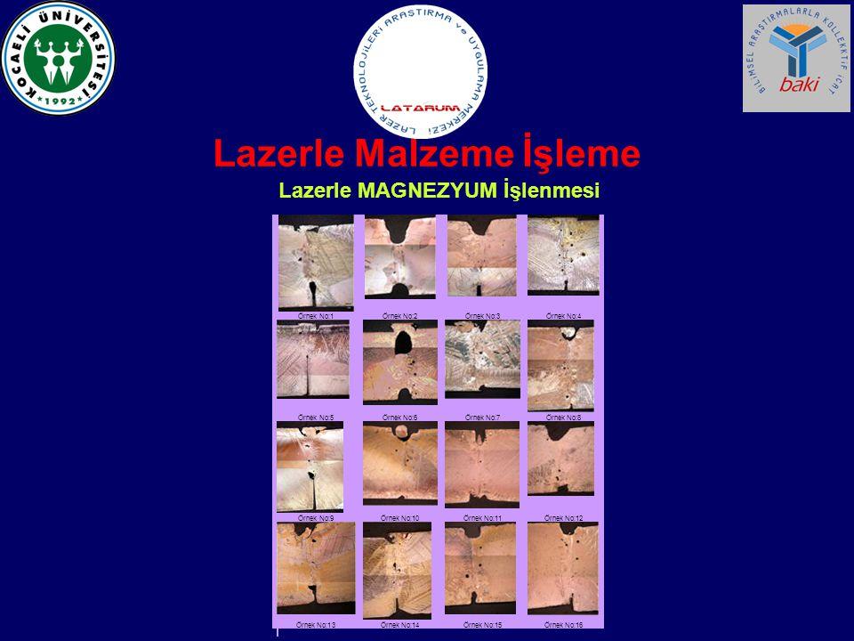 Lazerle Malzeme İşleme Lazerle MAGNEZYUM İşlenmesi Örnek No:1 Örnek No:2 Örnek No:3 Örnek No:4 Örnek No:5 Örnek No:6 Örnek No:7 Örnek No:8 Örnek No:9