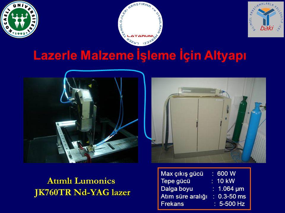Max çıkış gücü : 600 W Tepe gücü : 10 kW Dalga boyu : 1.064 μm Atım süre aralığı : 0.3-50 ms Frekans : 5-500 Hz Atımlı Atımlı Lumonics Nd-YAG lazer JK