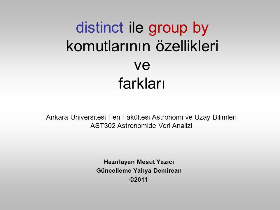 Fark 1 •distinct komutu select'in yanına yazılır.