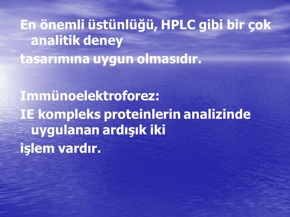 En önemli üstünlüğü, HPLC gibi bir çok analitik deney tasarımına uygun olmasıdır. Immünoelektroforez: IE kompleks proteinlerin analizinde uygulanan ar