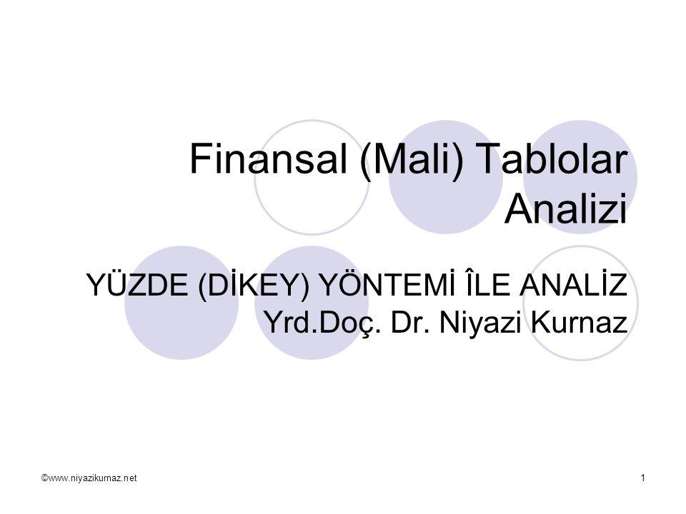 ©www.niyazikurnaz.net1 Finansal (Mali) Tablolar Analizi YÜZDE (DİKEY) YÖNTEMİ ÎLE ANALİZ Yrd.Doç. Dr. Niyazi Kurnaz