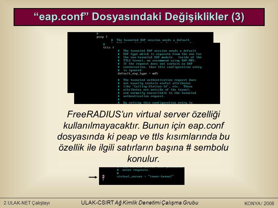KONYA / 2008 2.ULAK-NET Çalıştayı ULAK-CSIRT Ağ Kimlik Denetimi Çalışma Grubu FreeRADIUS'un virtual server özelliği kullanılmayacaktır.