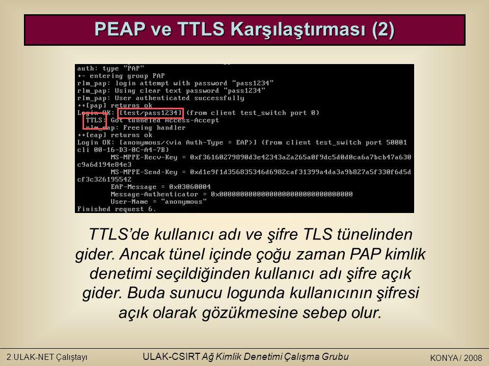 KONYA / 2008 2.ULAK-NET Çalıştayı ULAK-CSIRT Ağ Kimlik Denetimi Çalışma Grubu PEAP ve TTLS Karşılaştırması (2) TTLS'de kullanıcı adı ve şifre TLS tünelinden gider.