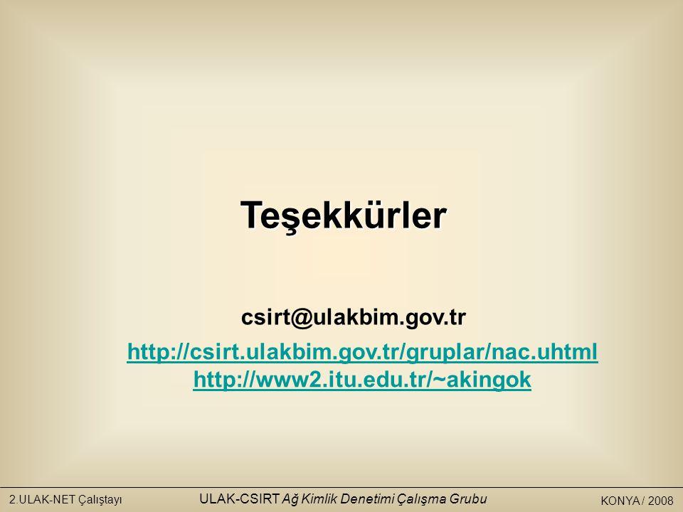 KONYA / 2008 2.ULAK-NET Çalıştayı ULAK-CSIRT Ağ Kimlik Denetimi Çalışma Grubu http://csirt.ulakbim.gov.tr/gruplar/nac.uhtml http://www2.itu.edu.tr/~akingokTeşekkürler csirt@ulakbim.gov.tr