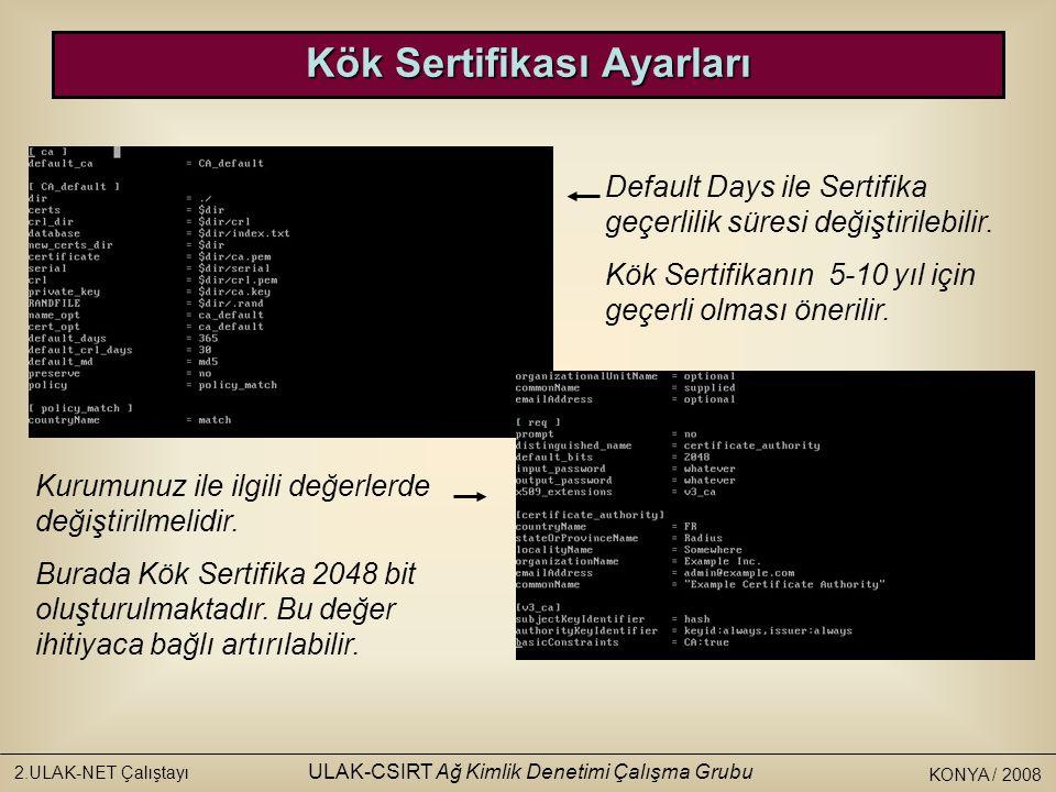 KONYA / 2008 2.ULAK-NET Çalıştayı ULAK-CSIRT Ağ Kimlik Denetimi Çalışma Grubu FreeRADIUS'un Çalıştırılması Artık FreeRADIUS radiusd –X komudu ile çalıştırılabilir.