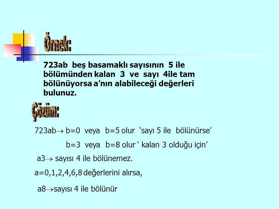 723ab  b=0 veya b=5 olur 'sayı 5 ile bölünürse' b=3 veya b=8 olur ' kalan 3 olduğu için' a3  sayısı 4 ile bölünemez. a=0,1,2,4,6,8 değerlerini alırs