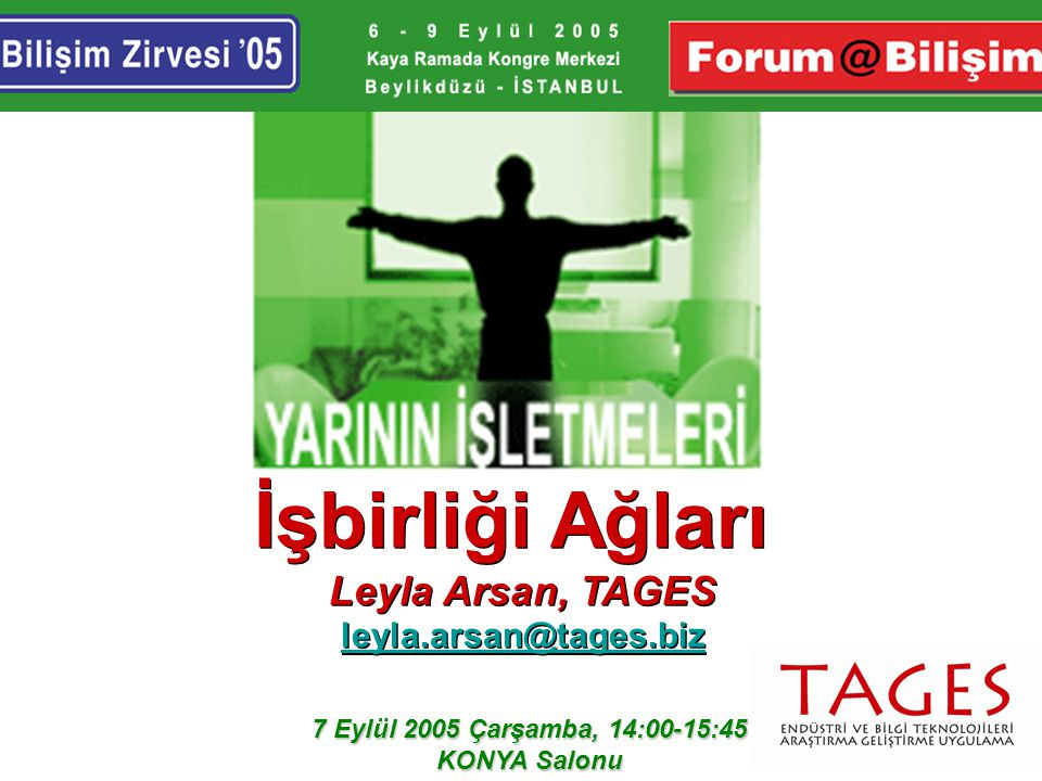 İşbirliği Ağları Leyla Arsan, TAGES leyla.arsan@tages.biz İşbirliği Ağları Leyla Arsan, TAGES leyla.arsan@tages.biz 7 Eylül 2005 Çarşamba, 14:00-15:45 KONYA Salonu