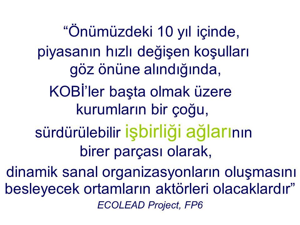 besleyecek ortamların aktörleri olacaklardır ECOLEAD Project, FP6 Önümüzdeki 10 yıl içinde, piyasanın hızlı değişen koşulları göz önüne alındığında, KOBİ'ler başta olmak üzere kurumların bir çoğu, sürdürülebilir işbirliği ağları nın birer parçası olarak, dinamik sanal organizasyonların oluşmasını