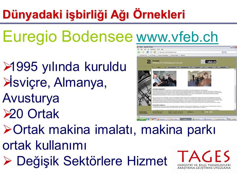 Euregio Bodensee www.vfeb.ch www.vfeb.ch  1995 yılında kuruldu  İsviçre, Almanya, Avusturya  20 Ortak  Ortak makina imalatı, makina parkı ortak ku