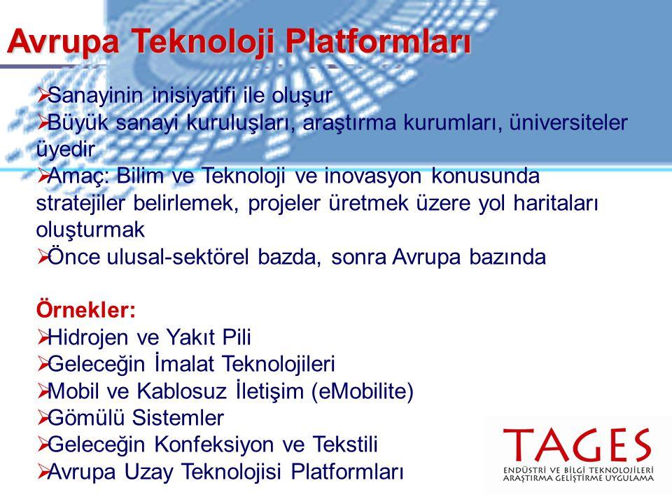 Avrupa Teknoloji Platformları  Sanayinin inisiyatifi ile oluşur  Büyük sanayi kuruluşları, araştırma kurumları, üniversiteler üyedir  Amaç: Bilim ve Teknoloji ve inovasyon konusunda stratejiler belirlemek, projeler üretmek üzere yol haritaları oluşturmak  Önce ulusal-sektörel bazda, sonra Avrupa bazında Örnekler:  Hidrojen ve Yakıt Pili  Geleceğin İmalat Teknolojileri  Mobil ve Kablosuz İletişim (eMobilite)  Gömülü Sistemler  Geleceğin Konfeksiyon ve Tekstili  Avrupa Uzay Teknolojisi Platformları