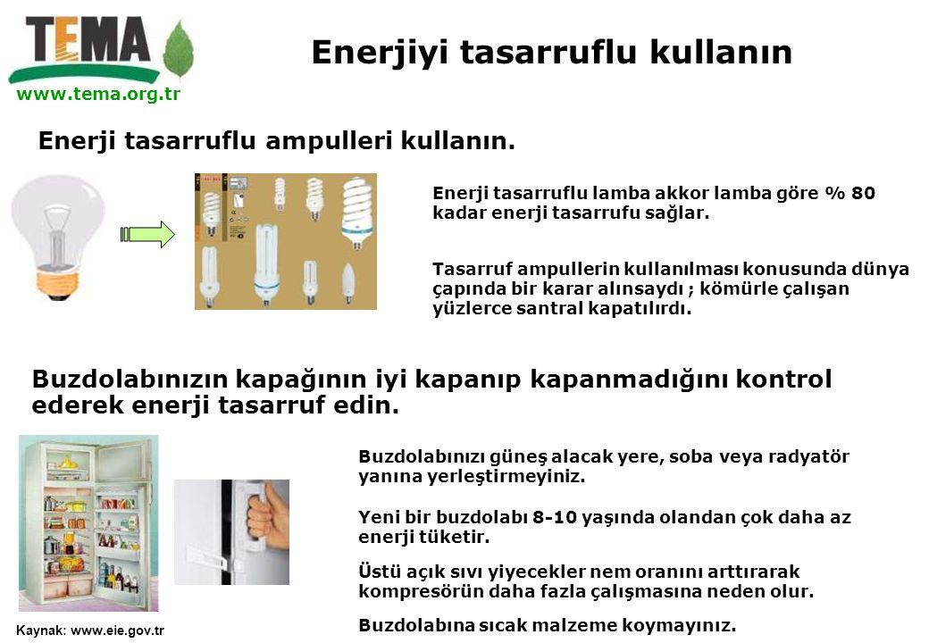 www.tema.org.tr Buzdolabınızın kapağının iyi kapanıp kapanmadığını kontrol ederek enerji tasarruf edin. Yeni bir buzdolabı 8-10 yaşında olandan çok da