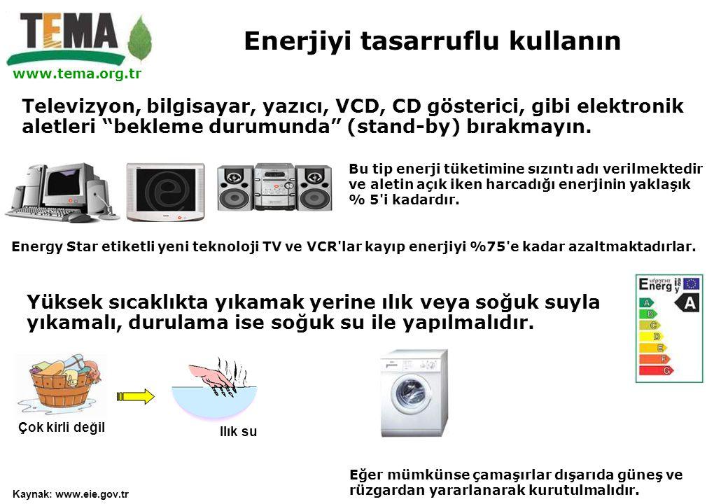 """www.tema.org.tr Televizyon, bilgisayar, yazıcı, VCD, CD gösterici, gibi elektronik aletleri """"bekleme durumunda"""" (stand-by) bırakmayın. Bu tip enerji t"""