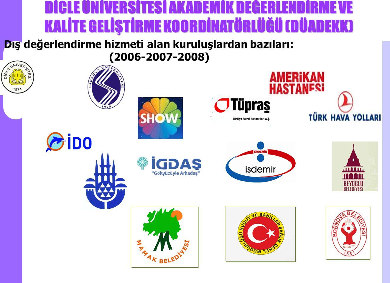 DİCLE ÜNİVERSİTESİ AKADEMİK DEĞERLENDİRME VE KALİTE GELİŞTİRME KOORDİNATÖRLÜĞÜ (DÜADEKK) Dış değerlendirme hizmeti alan kuruluşlardan bazıları: (2006-