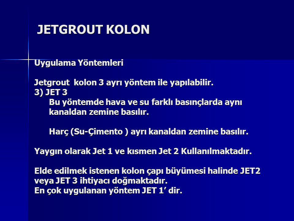 JETGROUT KOLON Uygulama Yöntemleri Jetgrout kolon 3 ayrı yöntem ile yapılabilir. 3) JET 3 Bu yöntemde hava ve su farklı basınçlarda aynı kanaldan zemi