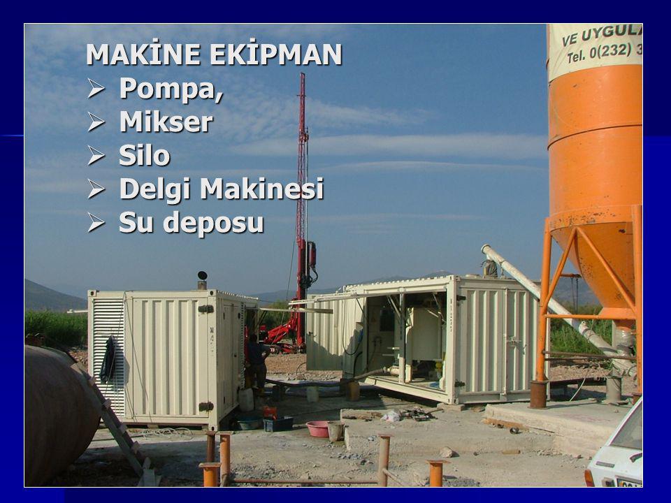 TASARIM Organik kil3kg/cm² Kil18 - 30kg/cm² Silt30 - 45kg/cm² Kum60 - 90kg/cm² Çakıl100kg/cm² * 450 doz çimento, su/çimento = 1 dikkate alınmıştır.
