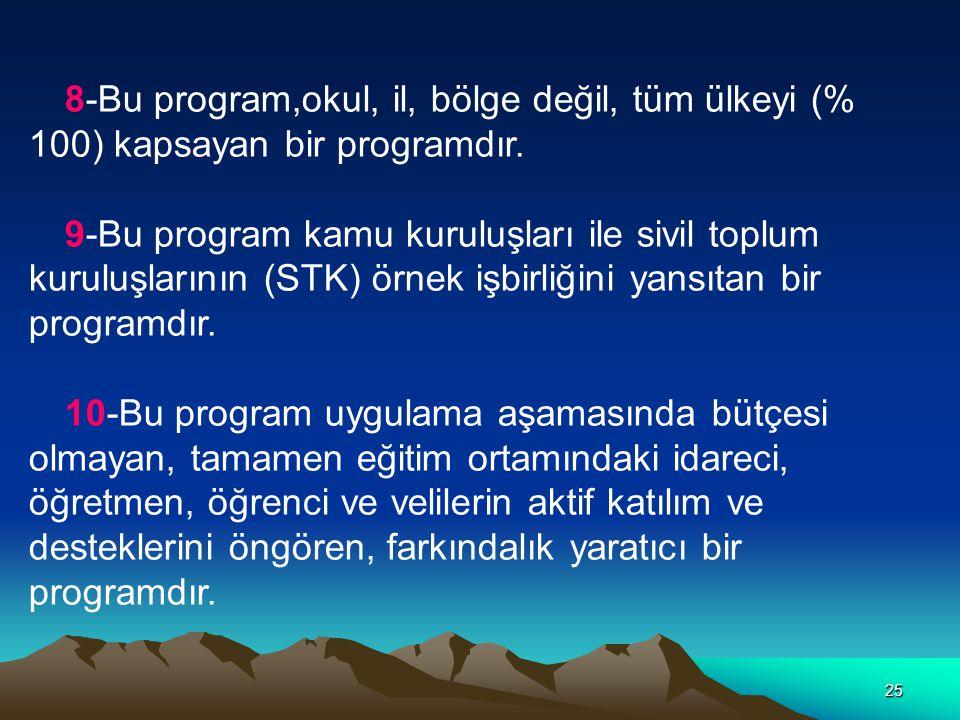 25 8-Bu program,okul, il, bölge değil, tüm ülkeyi (% 100) kapsayan bir programdır. 9-Bu program kamu kuruluşları ile sivil toplum kuruluşlarının (STK)