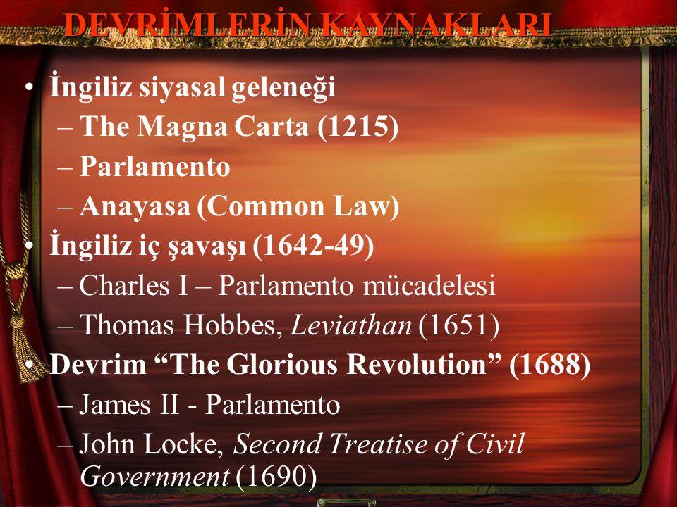 •İngiliz siyasal geleneği –The Magna Carta (1215) –Parlamento –Anayasa (Common Law) •İngiliz iç şavaşı (1642-49) –Charles I – Parlamento mücadelesi –T
