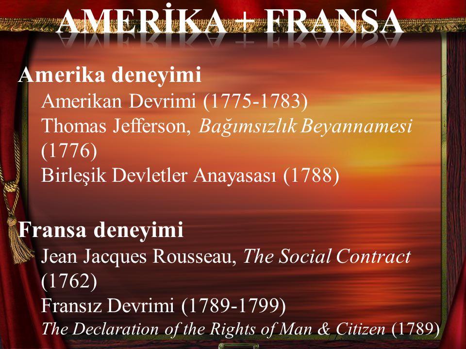 Amerika deneyimi Amerikan Devrimi (1775-1783) Thomas Jefferson, Bağımsızlık Beyannamesi (1776) Birleşik Devletler Anayasası (1788) Fransa deneyimi Jea