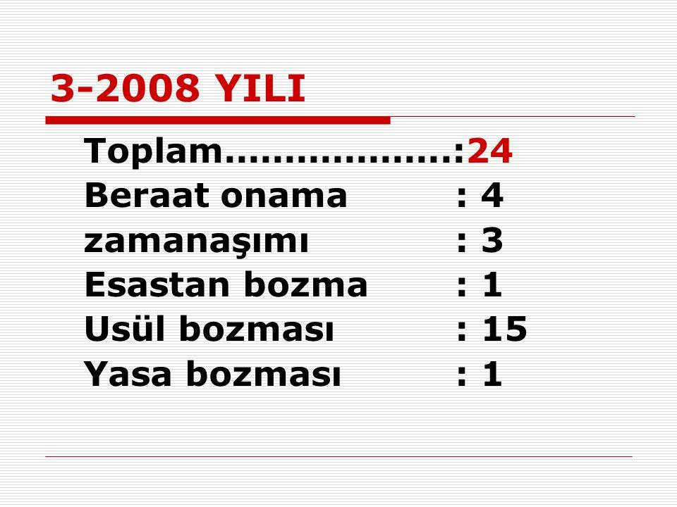3-2008 YILI Toplam...................:24 Beraat onama: 4 zamanaşımı: 3 Esastan bozma: 1 Usül bozması: 15 Yasa bozması: 1