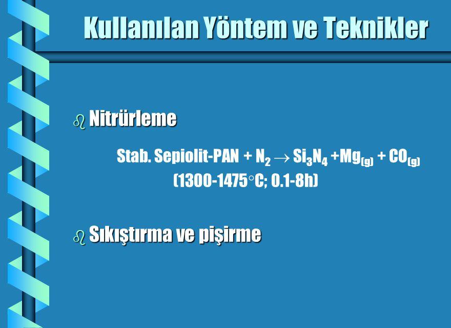 Kullanılan Yöntem ve Teknikler b Nitrürleme b Nitrürleme Stab. Sepiolit-PAN + N 2  Si 3 N 4 +Mg (g) + CO (g) (1300-1475  C; 0.1-8h) b Sıkıştırma ve