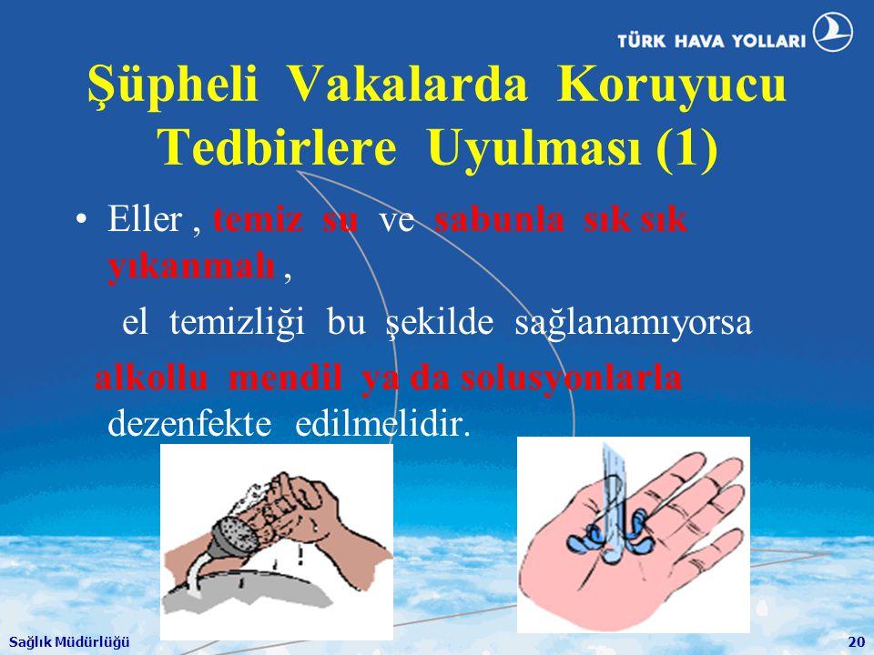 Sağlık Müdürlüğü20 Şüpheli Vakalarda Koruyucu Tedbirlere Uyulması (1) •Eller, temiz su ve sabunla sık sık yıkanmalı, el temizliği bu şekilde sağlanamı