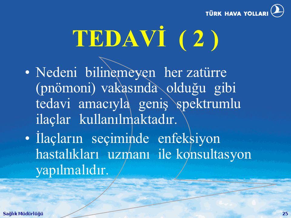 Sağlık Müdürlüğü25 TEDAVİ ( 2 ) •Nedeni bilinemeyen her zatürre (pnömoni) vakasında olduğu gibi tedavi amacıyla geniş spektrumlu ilaçlar kullanılmakta