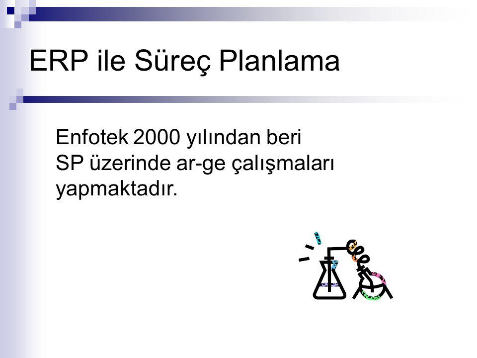 ERP ile Süreç Planlama Enfotek 2000 yılından beri SP üzerinde ar-ge çalışmaları yapmaktadır.