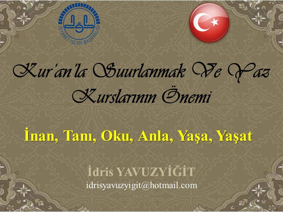 Kur'an'la Suurlanmak Ve Yaz Kurslarının Önemi İ dris YAVUZYİĞİT idrisyavuzyigit@hotmail.com İnan, Tanı, Oku, Anla, Yaşa, Yaşat