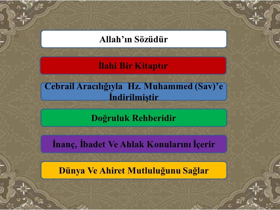 Allah'ın Sözüdür İlahi Bir Kitaptır Cebrail Aracılığıyla Hz. Muhammed (Sav)'e İndirilmiştir İnanç, İbadet Ve Ahlak Konularını İçerir Doğruluk Rehberid