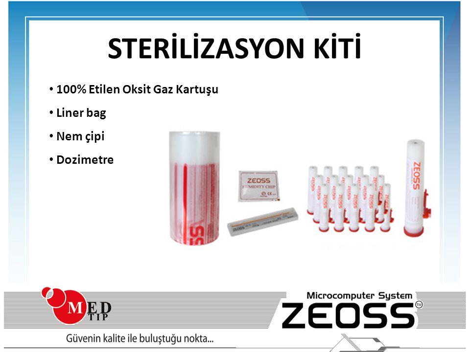 STERİLİZASYON KİTİ • 100% Etilen Oksit Gaz Kartuşu • Liner bag • Nem çipi • Dozimetre