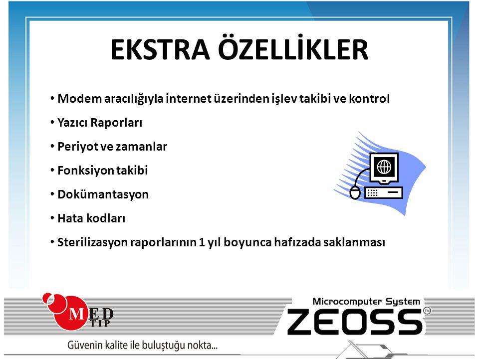EKSTRA ÖZELLİKLER • Modem aracılığıyla internet üzerinden işlev takibi ve kontrol • Yazıcı Raporları • Periyot ve zamanlar • Fonksiyon takibi • Doküma