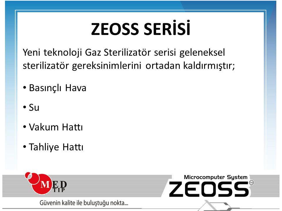 ZEOSS SERİSİ Yeni teknoloji Gaz Sterilizatör serisi geleneksel sterilizatör gereksinimlerini ortadan kaldırmıştır; • Basınçlı Hava • Su • Vakum Hattı